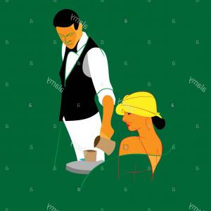 Vector Waiter Coffee: Waiter Holding A Cups Of Tea Or Coffee With Steam Vector