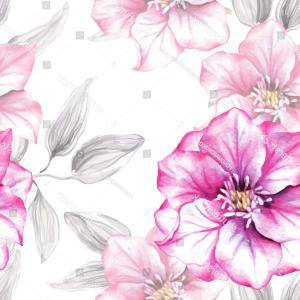 Watercolor Floral Vector Free: Watercolor Floral Seamless Pattern Pink Flowers