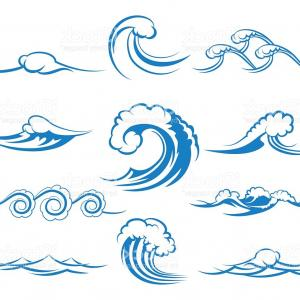 Ocean Wave Vector Illustration: Stock Illustration Water Waves Vector Seamless Pattern
