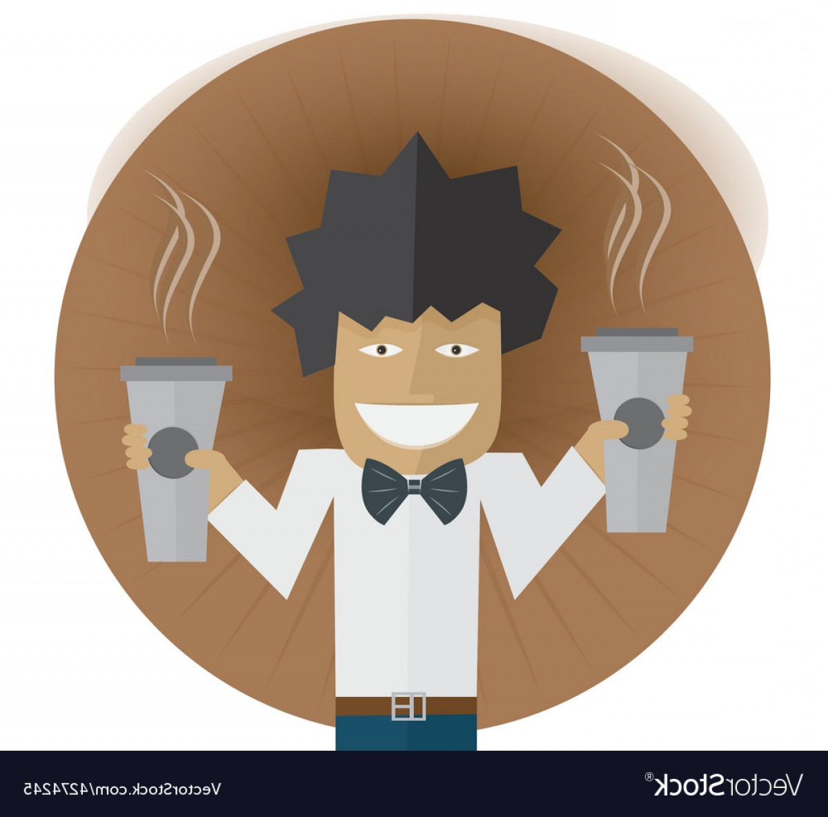 Vector Waiter Coffee: Waiter Carrying Two Cups Of Coffee Vector