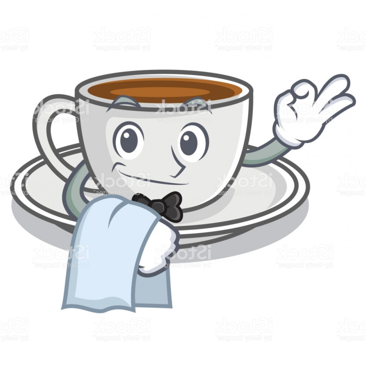 Vector Waiter Coffee: Waiter Coffee Character Cartoon Style Gm
