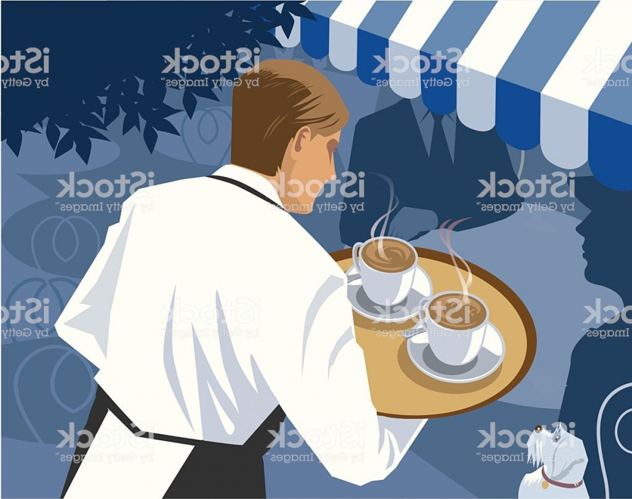 Vector Waiter Coffee: Waiter Serving Coffee At A Cafe Gm
