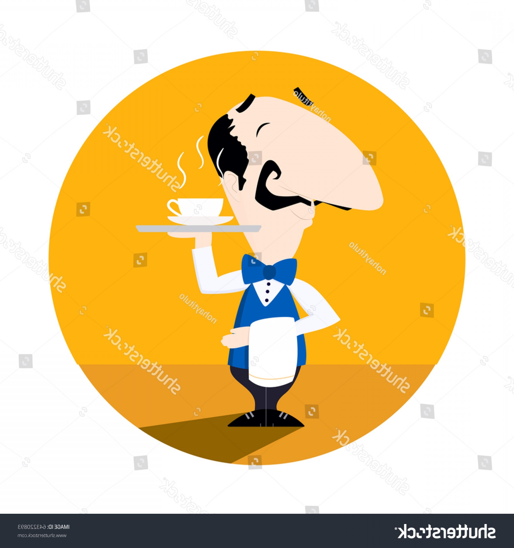 Vector Waiter Coffee: Waiter Serving Cup Hot Coffee Tea