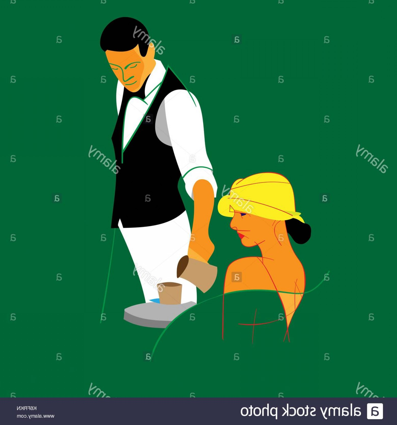 Vector Waiter Coffee: Waiter Serving Young Lady Having A Cup Of Coffee Vector Drawing Image