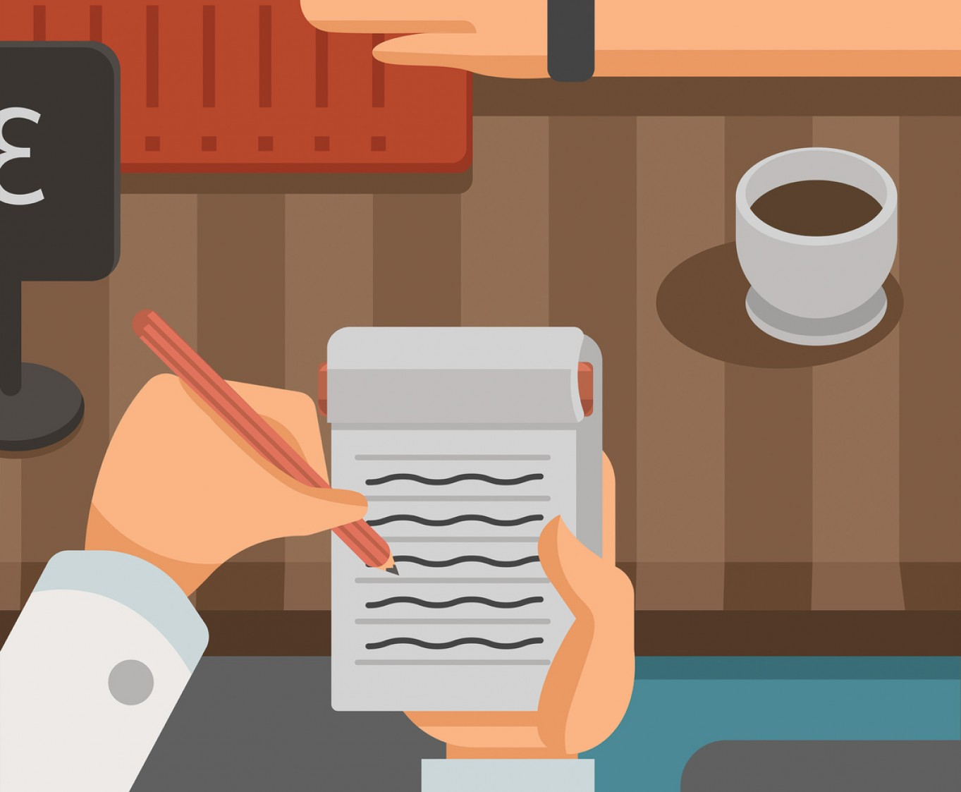 Vector Waiter Coffee: Waitress Writing Down Order Vector