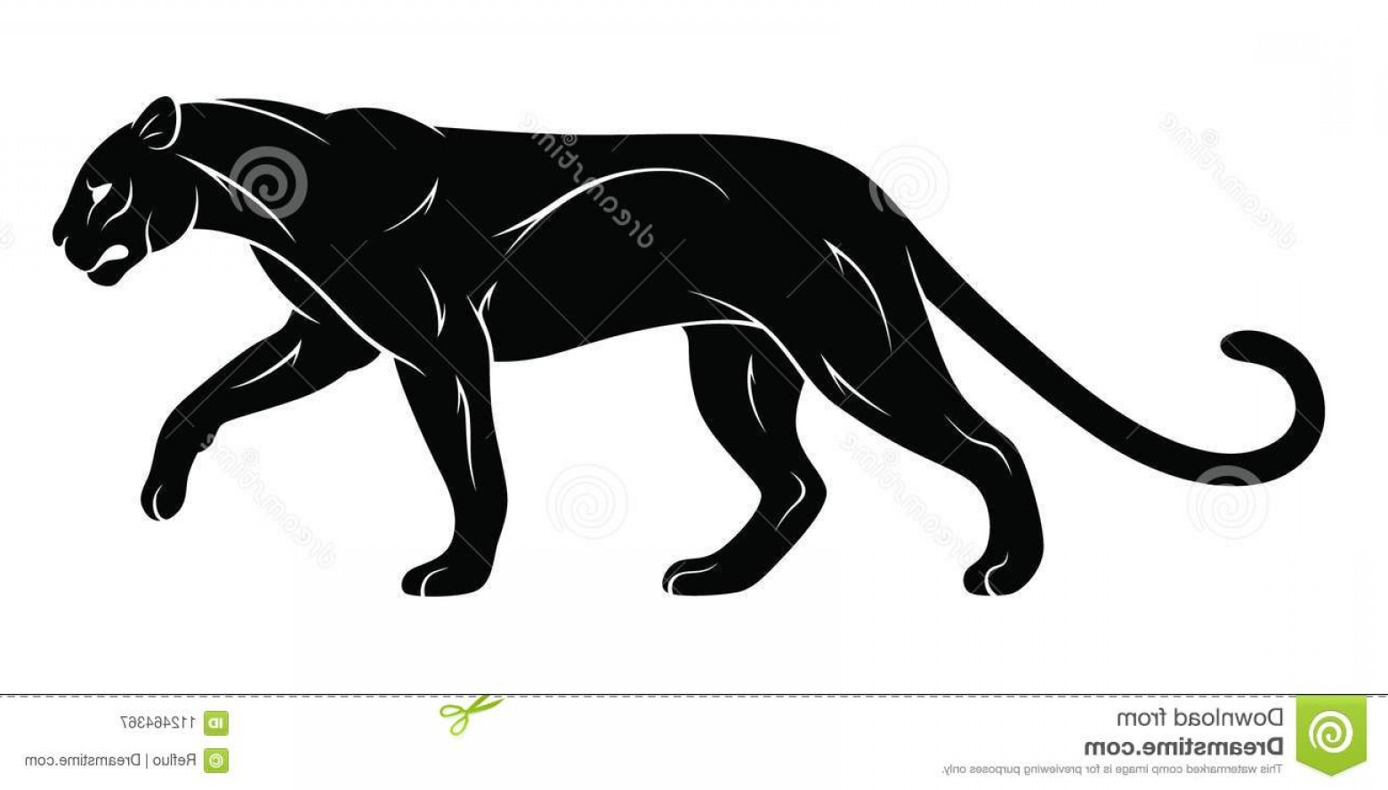 Panther Silhouette Vector: Walking Panther Black Walking Panther Silhouette Vector Illustration Image