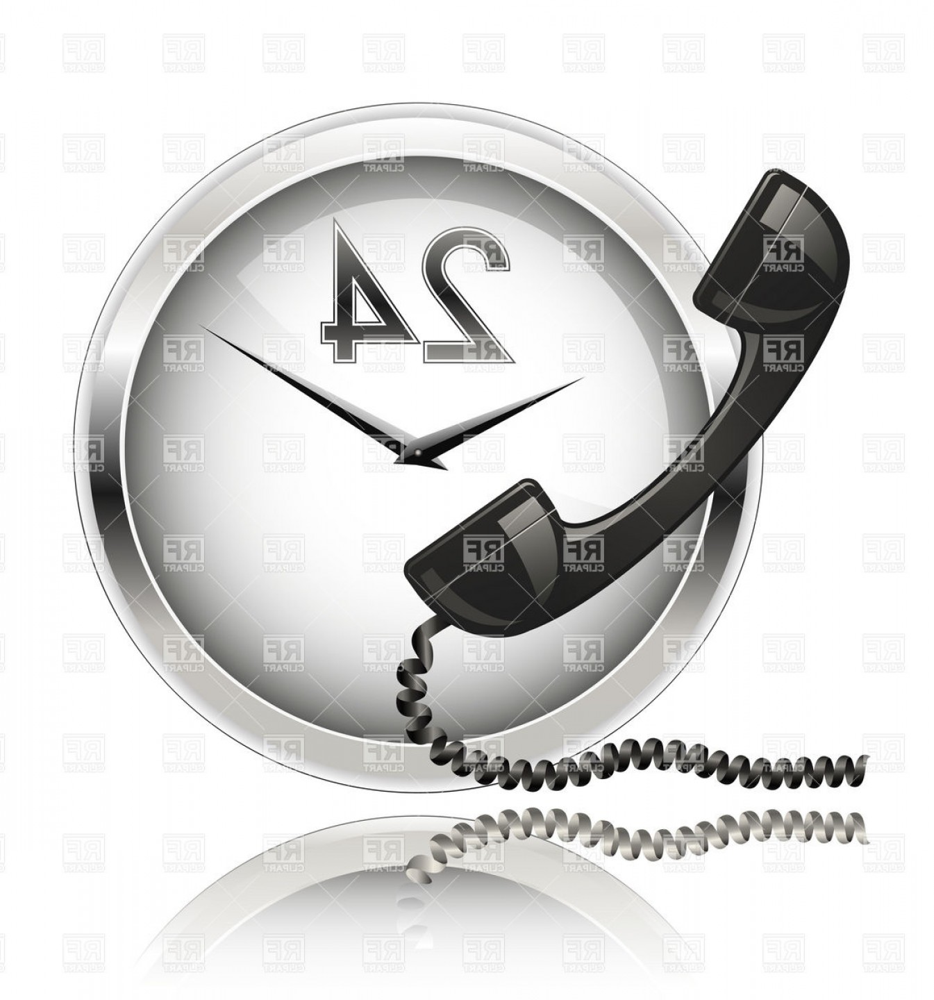 Support Vector Graphics: Wall Clock And Telephone Receiver Round The Clock Support Vector Clipart