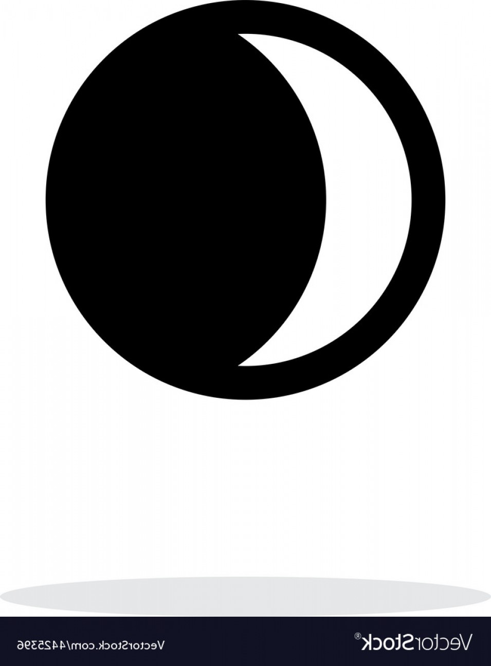 Simple Moon Vector Art: Waning Crescent Moon Simple Icon On White Vector