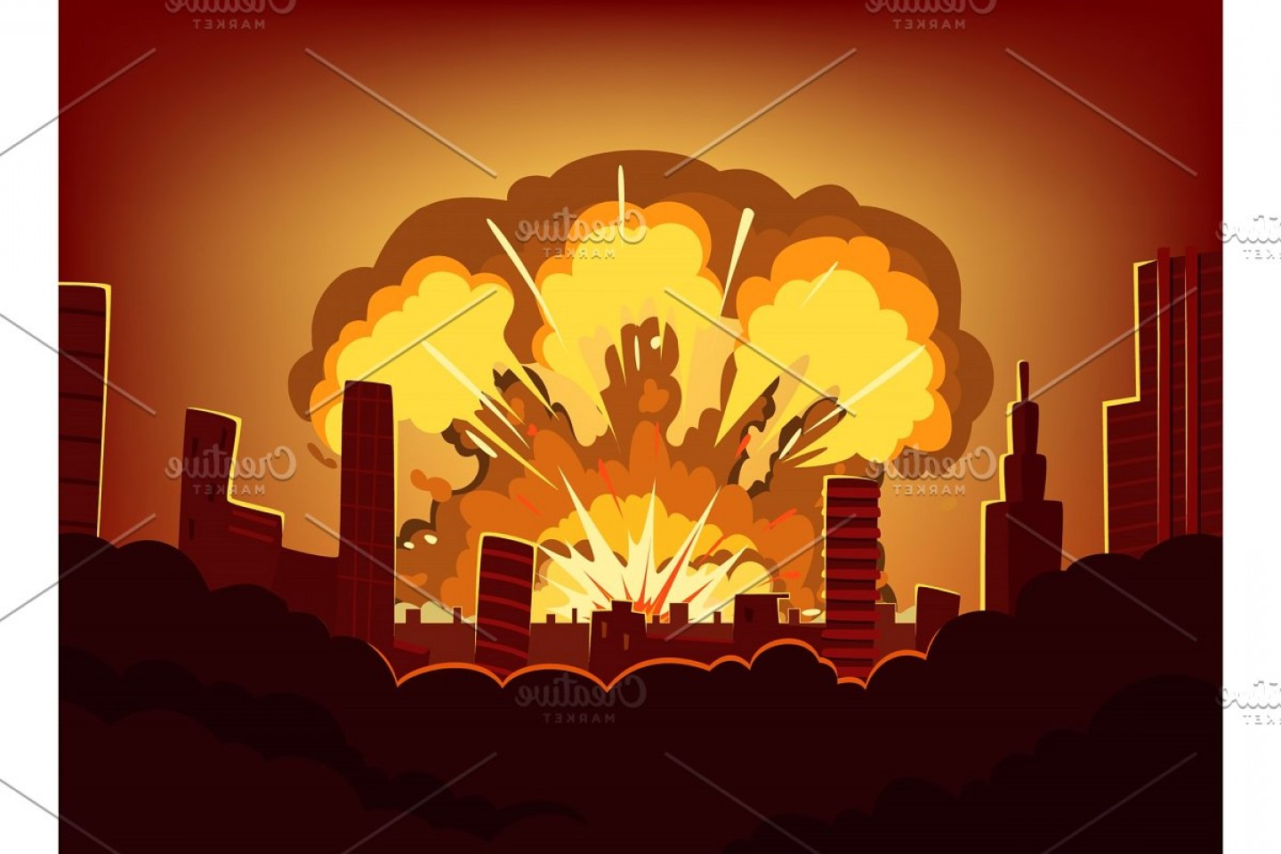 Atomic Bomb Explosion Vector: War And Damages After Big Explosion In The City
