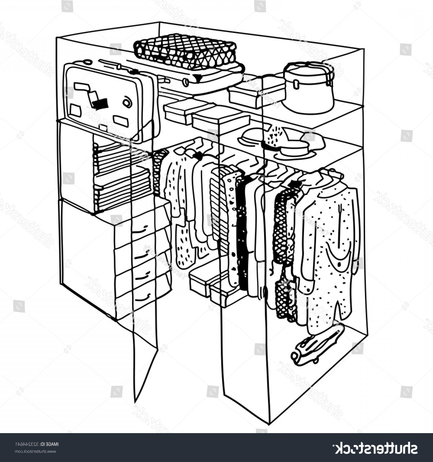 Hand Lathe Vector: Wardrobe Vector Hand Drawn Illustration