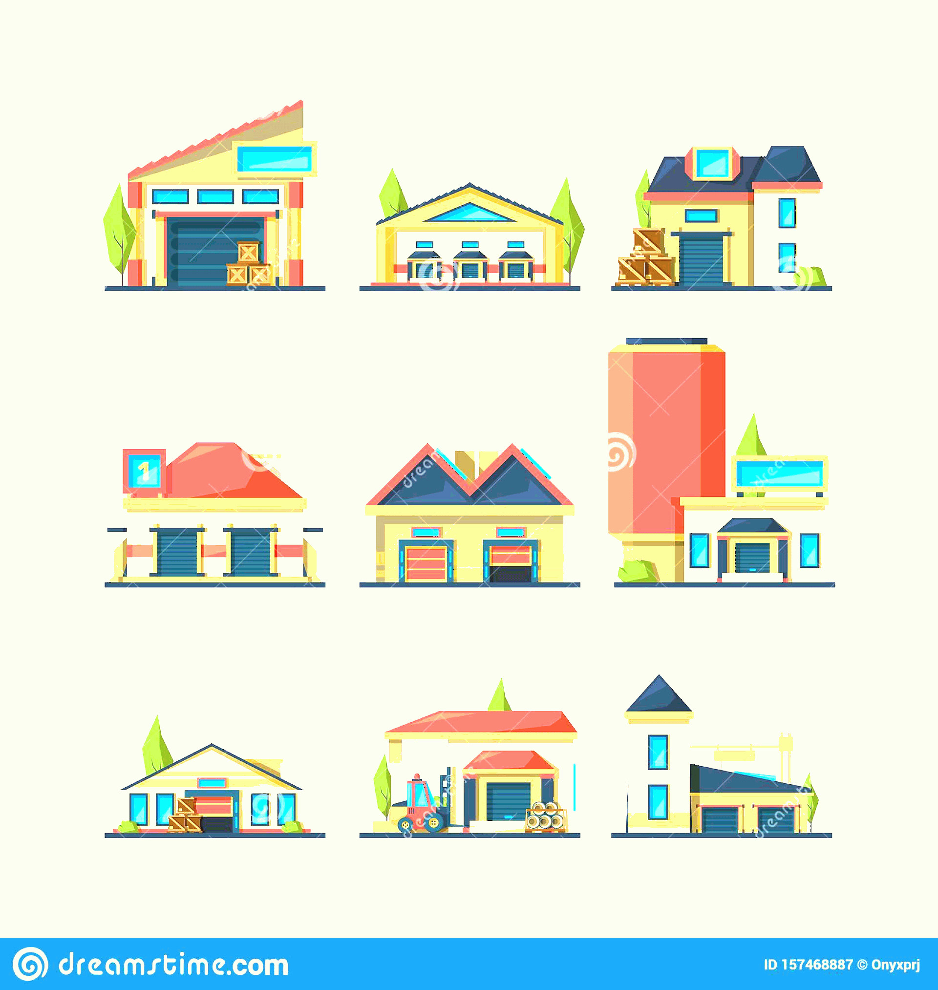 Flat Vector House: Warehouse Flat Industrial Buildings Empty Construction Factory Vector Houses Packages Different Items Warehouse Flat Image