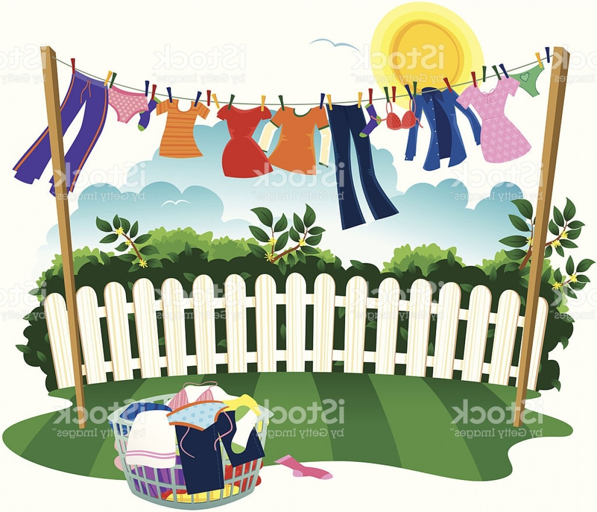 Clothes For Washing Vector: Washing Line And Drying Clothes Gm