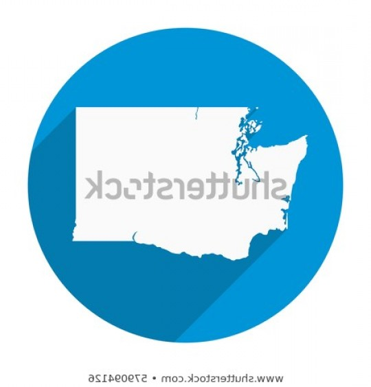 Washington State Map Vector: Washington State Map Flat Icon Long