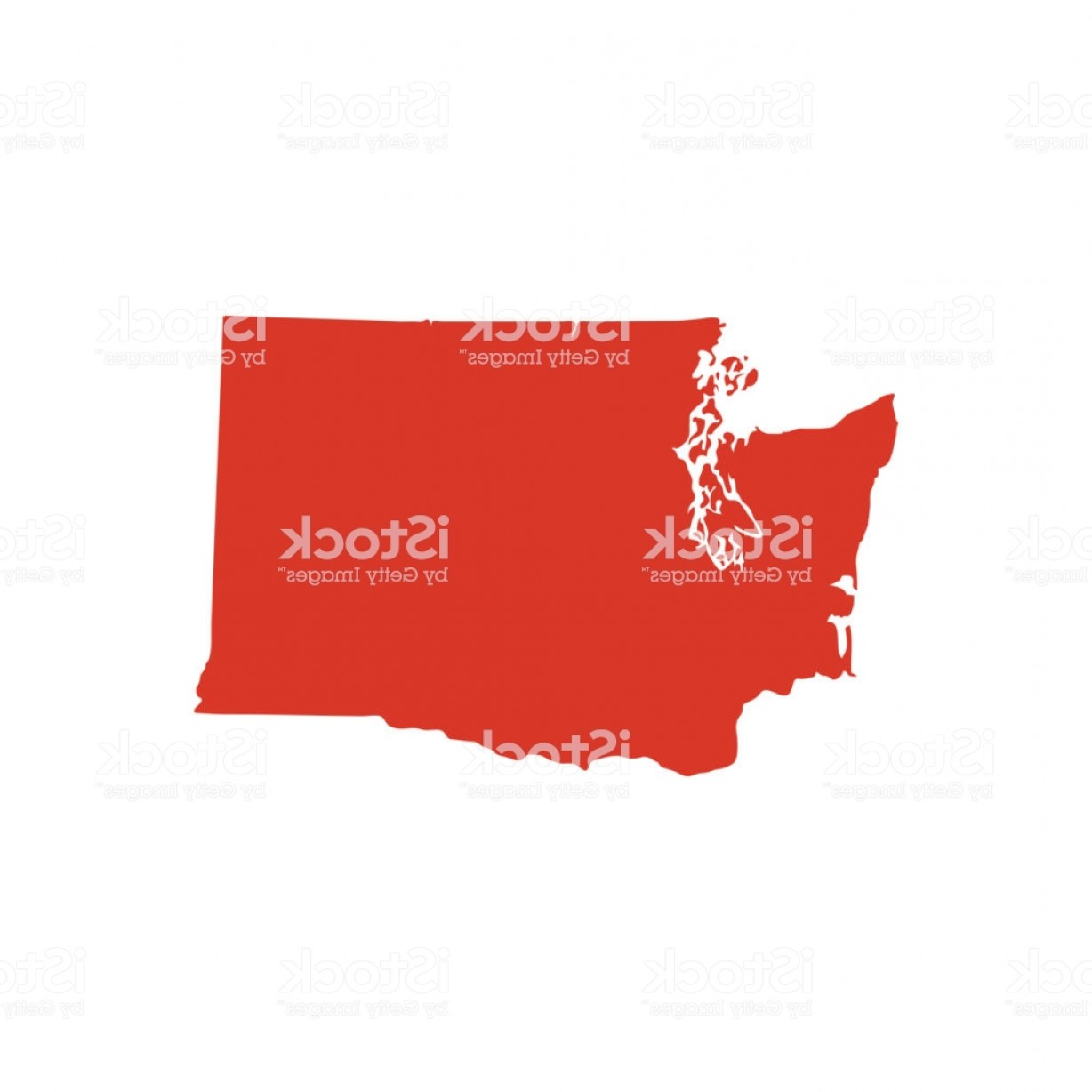 Washington State Map Vector: Washington State Map Silhouette Gm