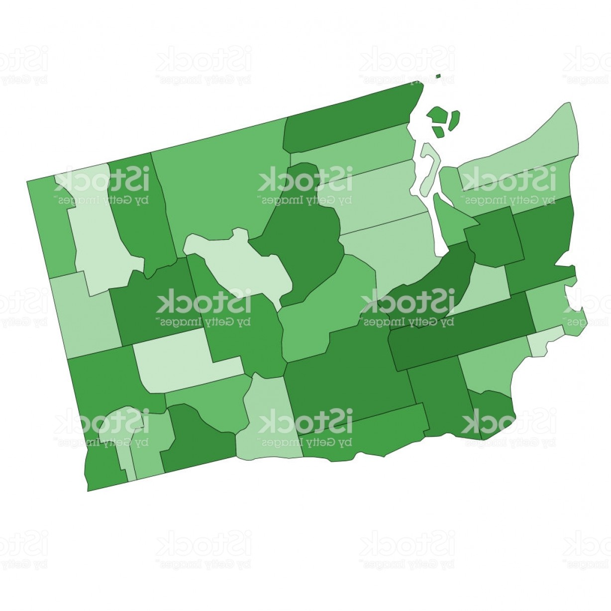 Washington State Vector: Washington State Map With Counties Gm