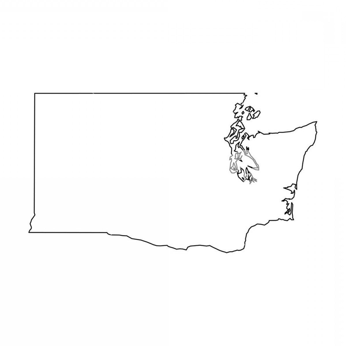 Washington State Vector: Washington State Of Usa Solid Black Outline Map Of Country Area Simple Flat Vector Illustration Rhwpulsfpvjtamrzhl