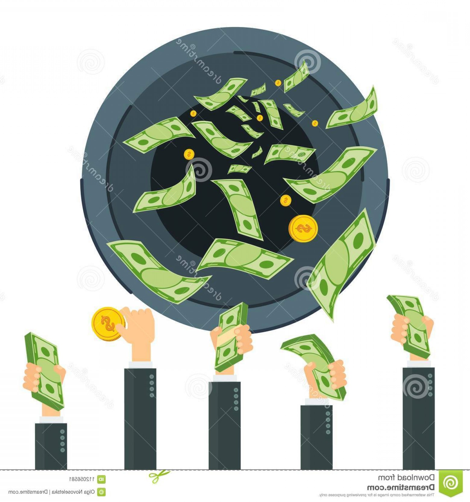 Vector Fly System: Wasting Money Concept Cash Flow Banknotes Fly Away Black Hole Bankruptcy Collapse Monetary System Flat Vector Cartoon Image