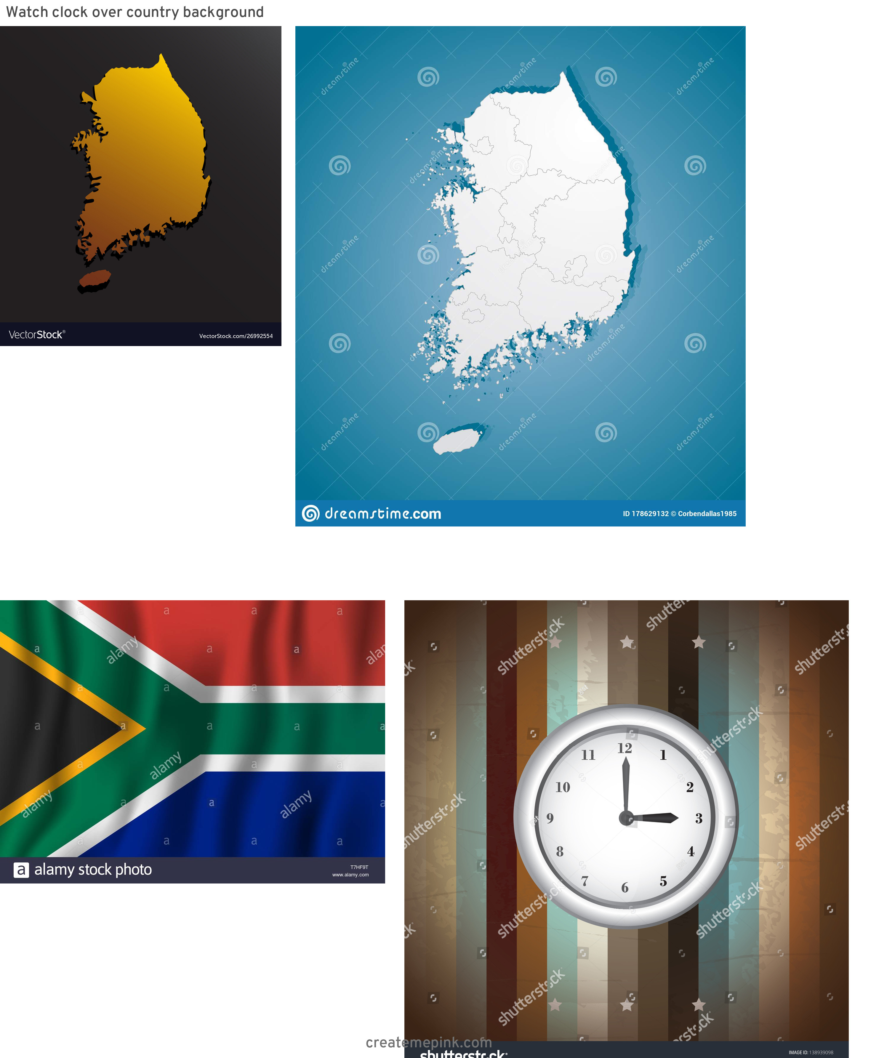 Country Background Vector: Watch Clock Over Country Background