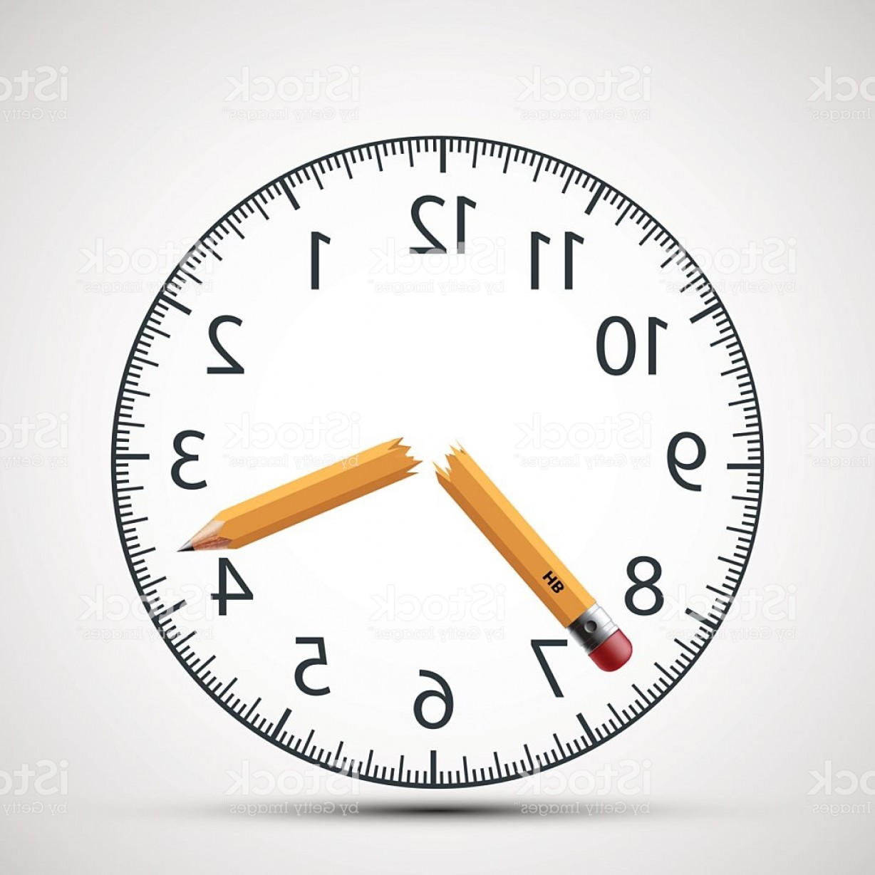 Broken Pencil Vector: Watch Dial With A Broken Pencil Nervous Tension And Stress Gm