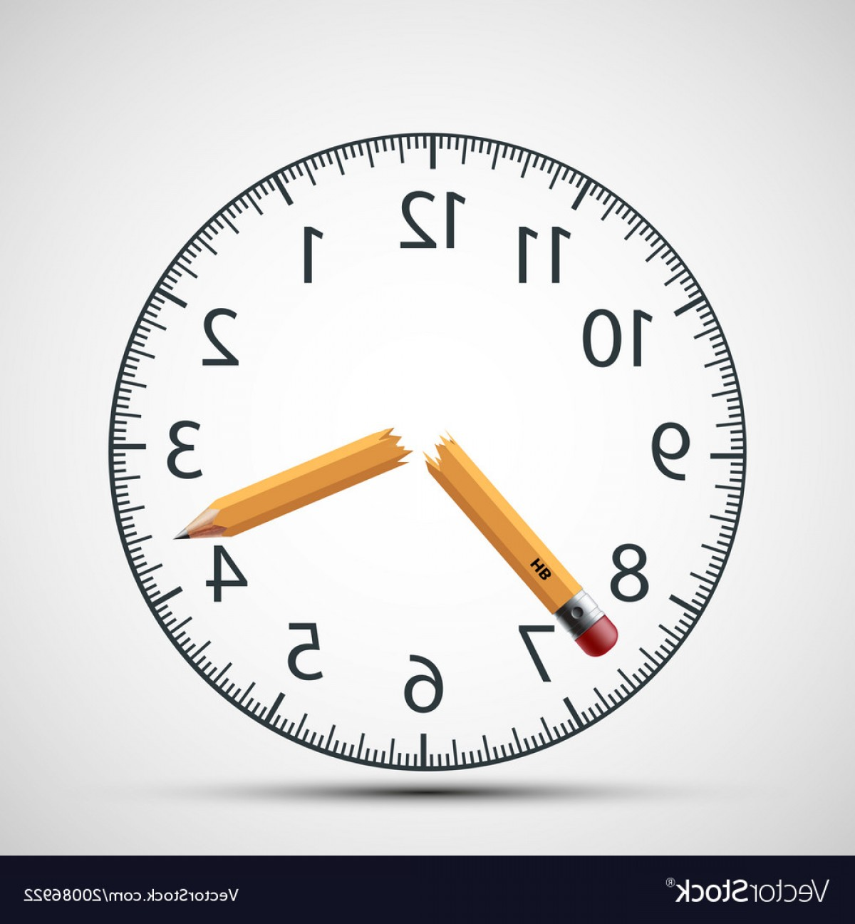 Broken Pencil Vector: Watch Dial With A Broken Pencil Nervous Tension Vector