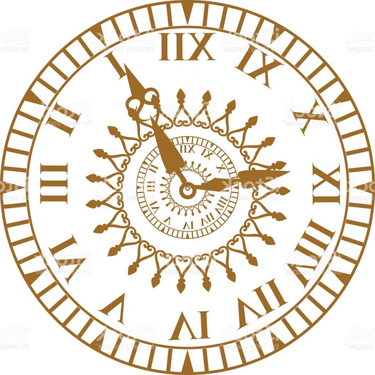 Old Floor Clock Vector: Watch Face Antique Clock Vector Illustration Gm