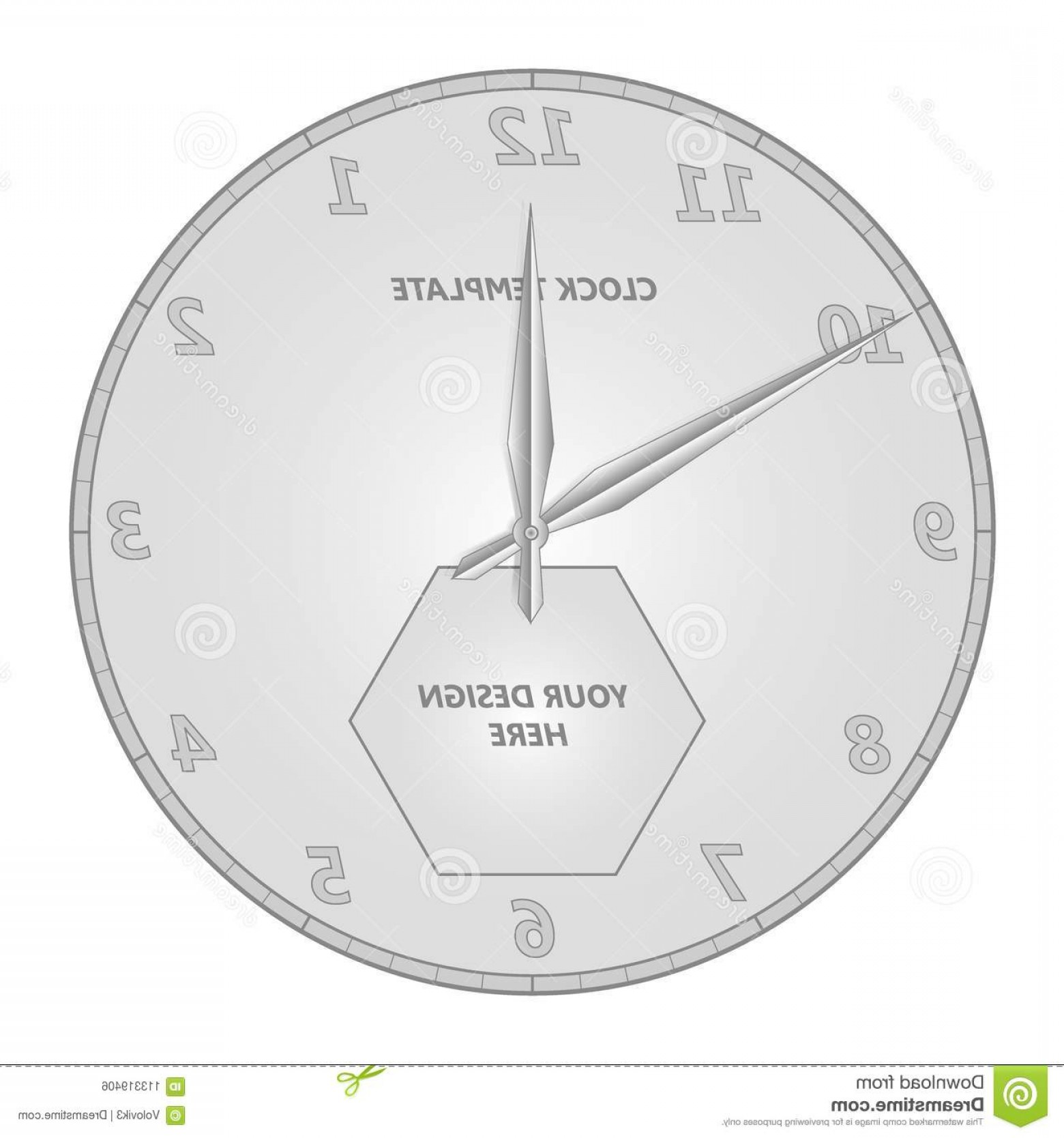 Watch Face Vector: Watch Face Template Hour Minute Hands Watch Face Template Hour Minute Hands Vector Illustration Your Design Image