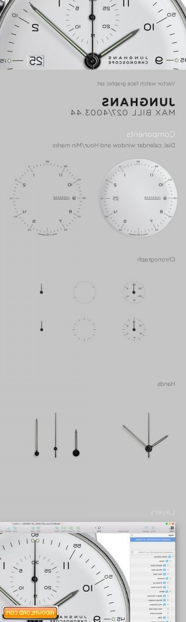 Watch Face Vector: Watch Face Vector Drawing Max Bill Free Download