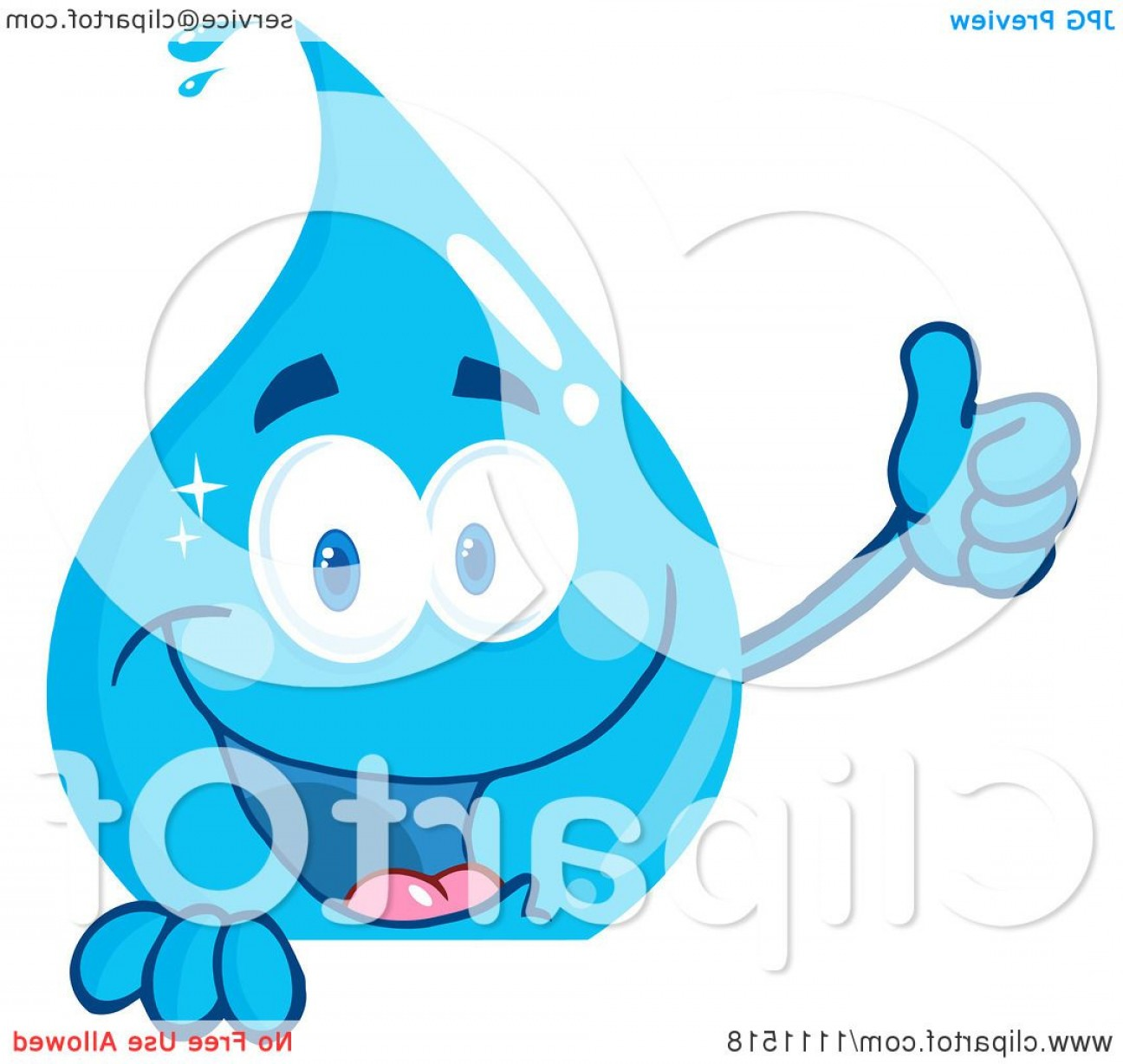 Vector Clip Art Of Water: Water Drop Holding A Thumb Up Over A Sign