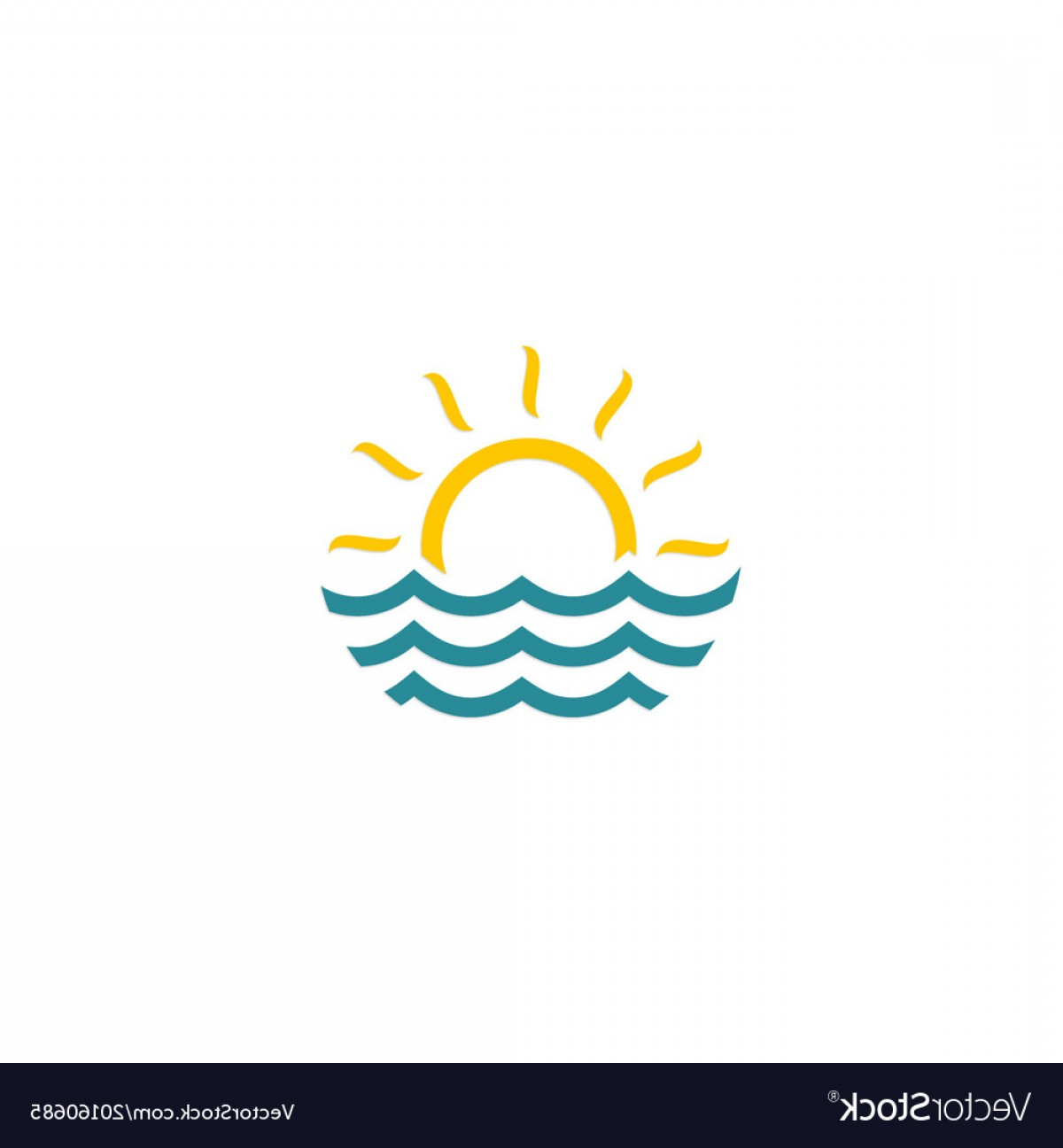 Ocean Water Clip Art Vector: Water Ocean Sun Logo Vector