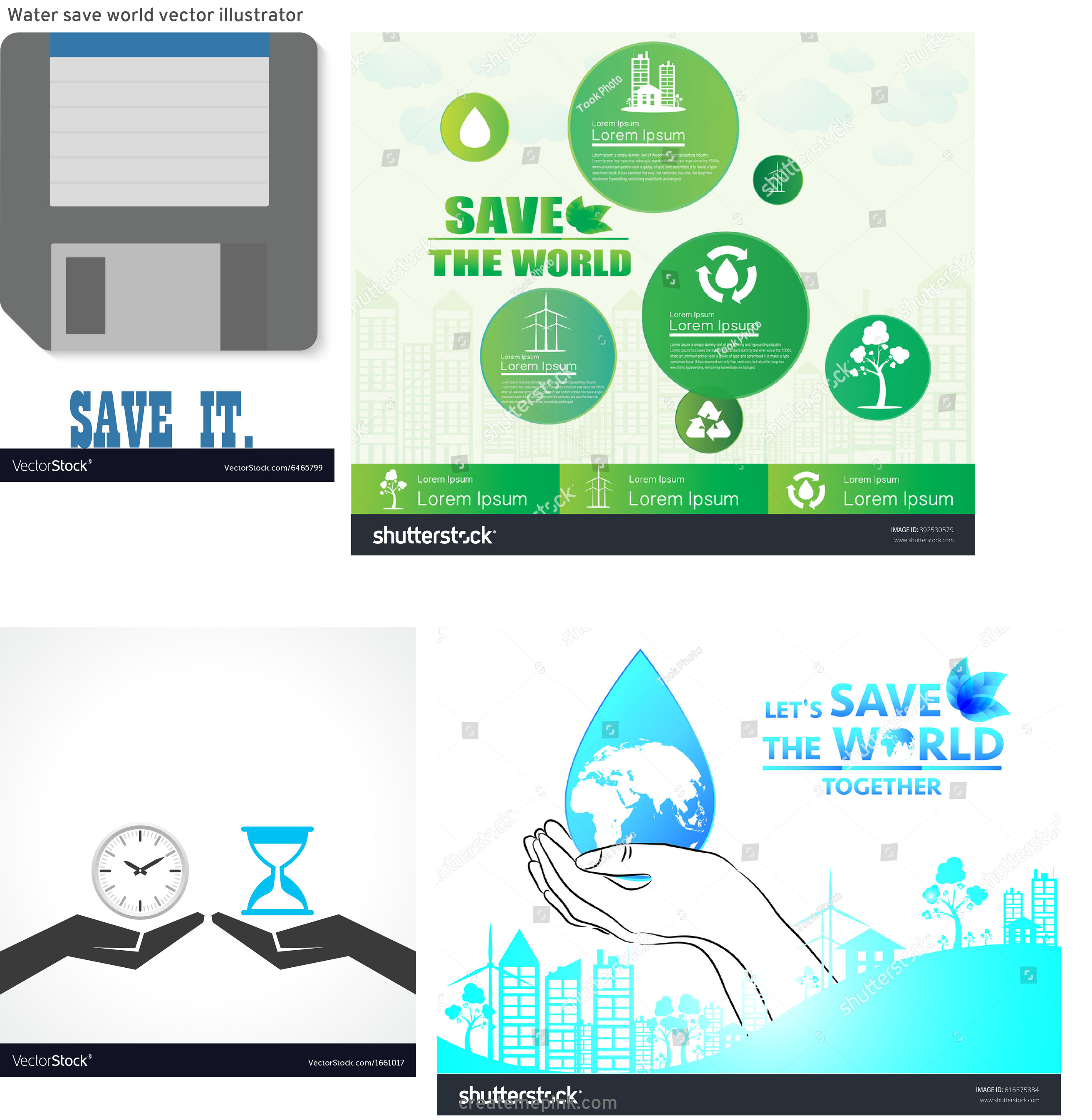 Save As Vector In Illustrator: Water Save World Vector Illustrator