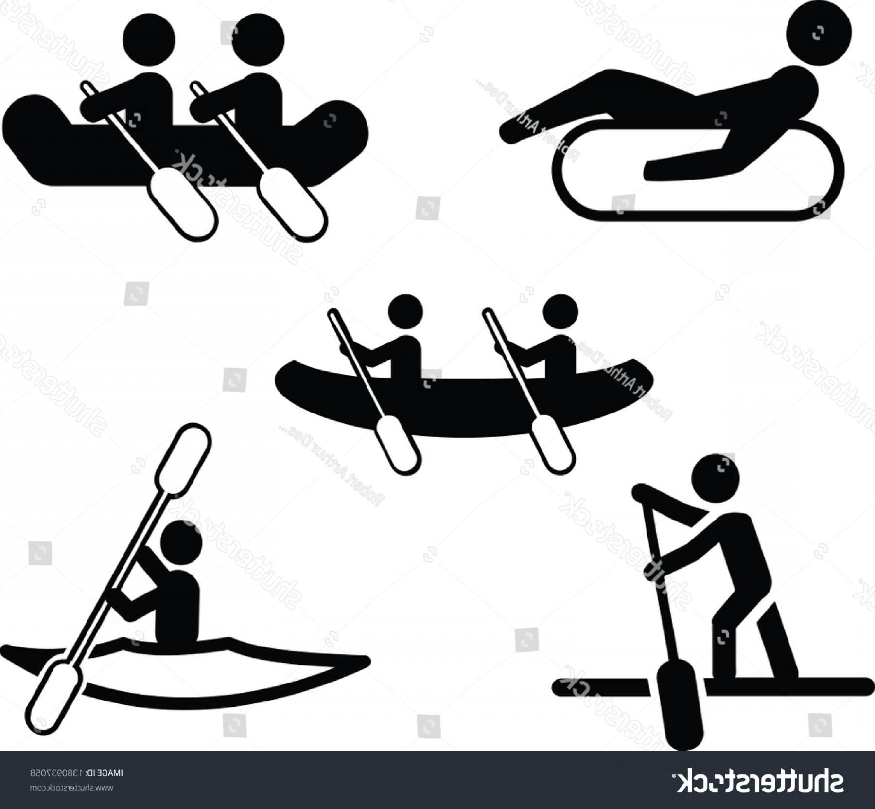 Paddleboard Vector Icons: Water Sport Vector Icon Set Canoeing