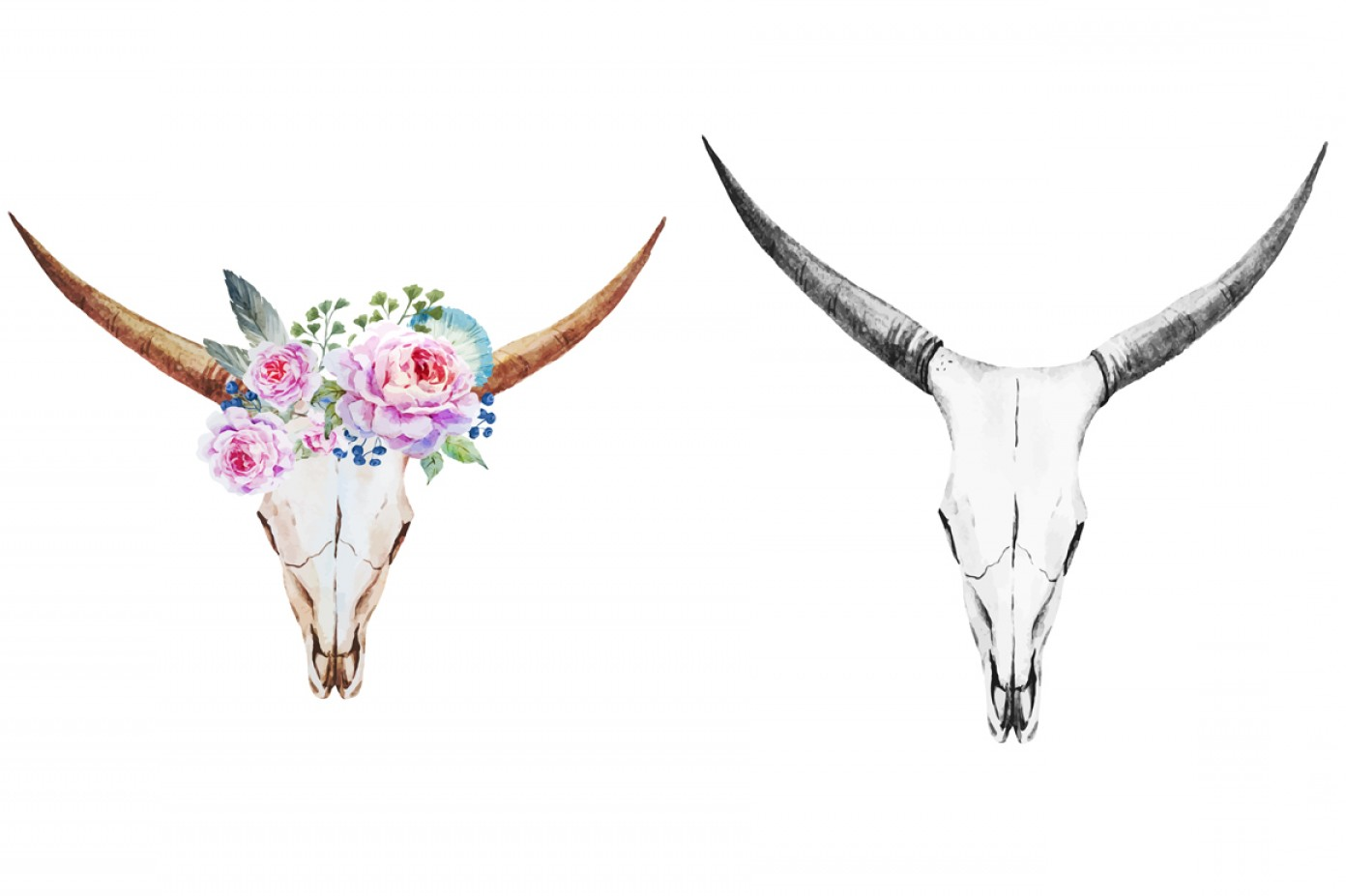 Longhorn Skull Vector: Watercolor Bull And Deer Skulls Vector