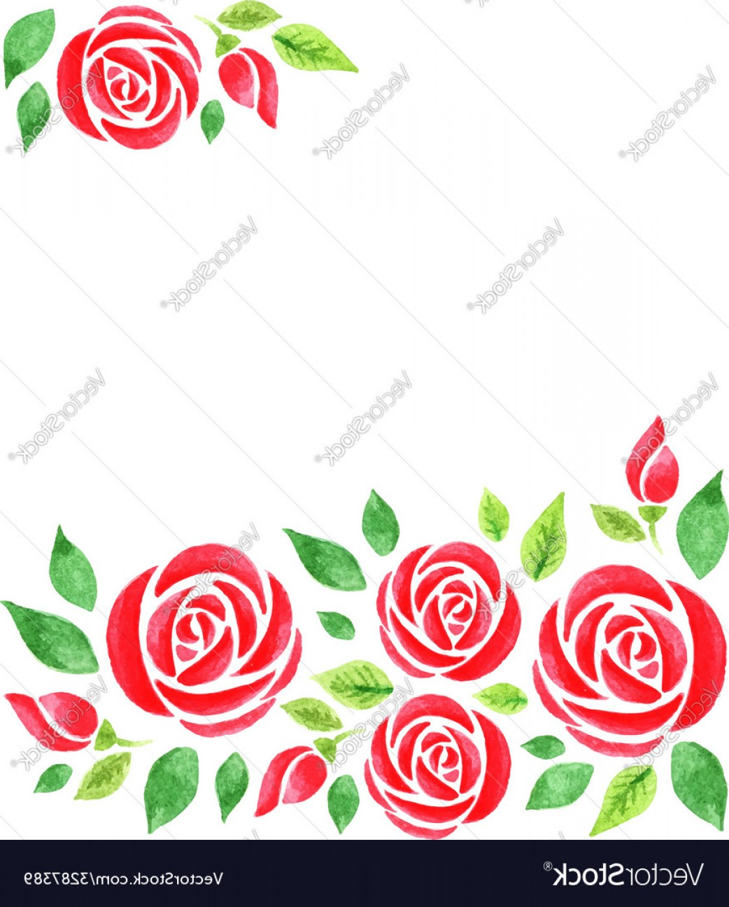 Watercolor Floral Background Vector: Watercolor Floral Background With Red Roses Vector