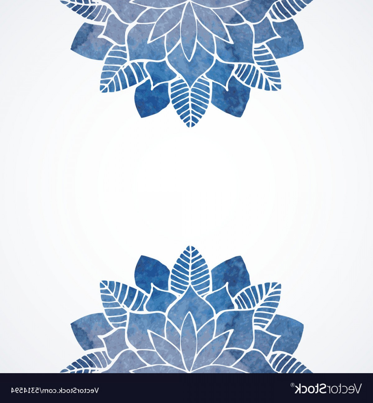Blue White Background Vector: Watercolor Floral Blue Pattern On White Background Vector