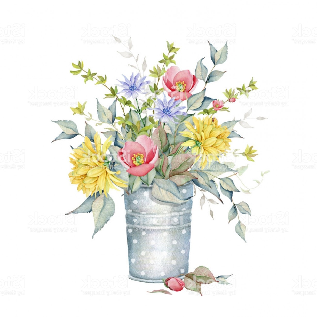 Vector Art Flowers In Vace: Watercolor Floral Bouquet In Vase Gm