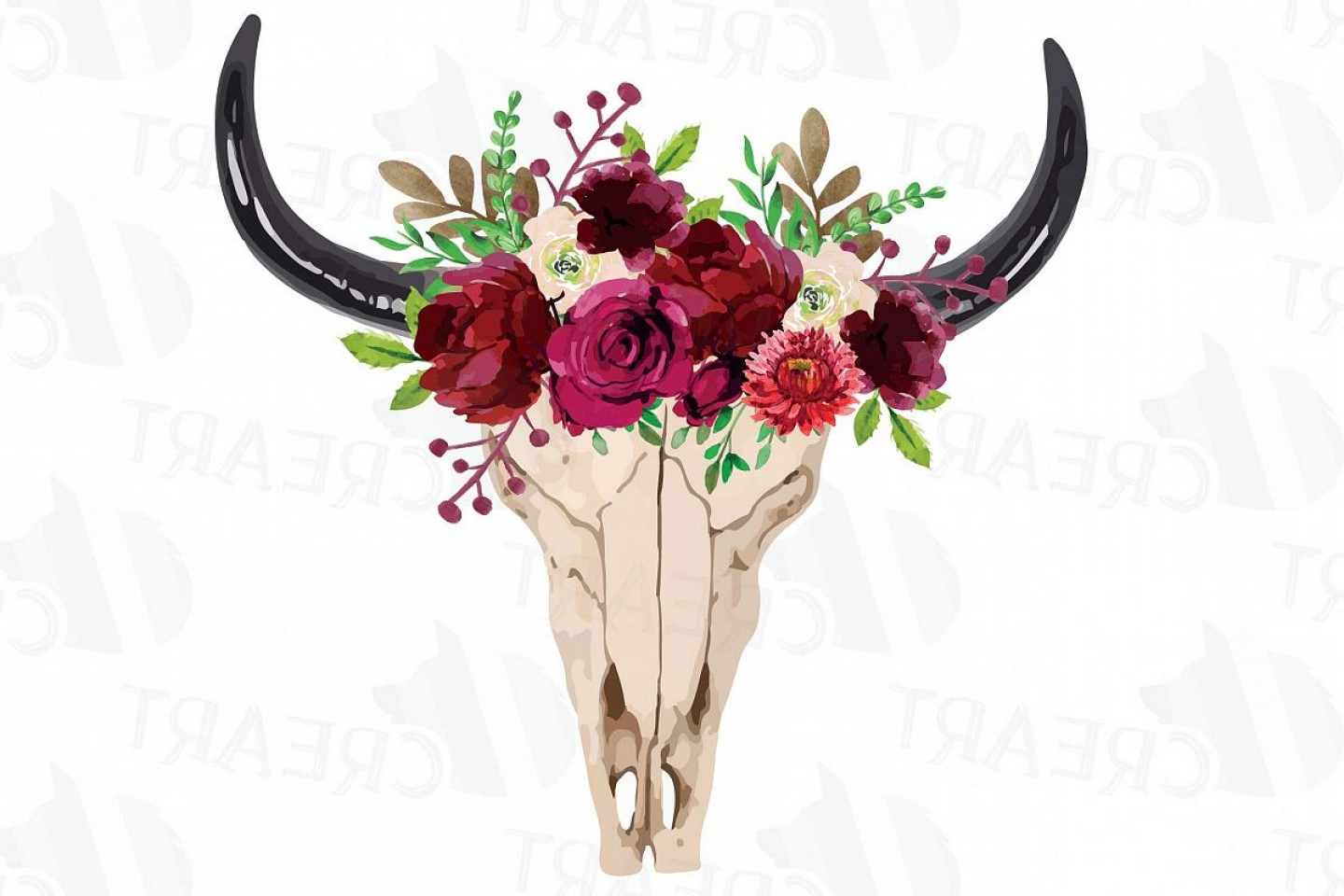 High Resolution Vector Watercolor Flowers: Watercolor Floral Bull Skull Clipart Indian Tribal