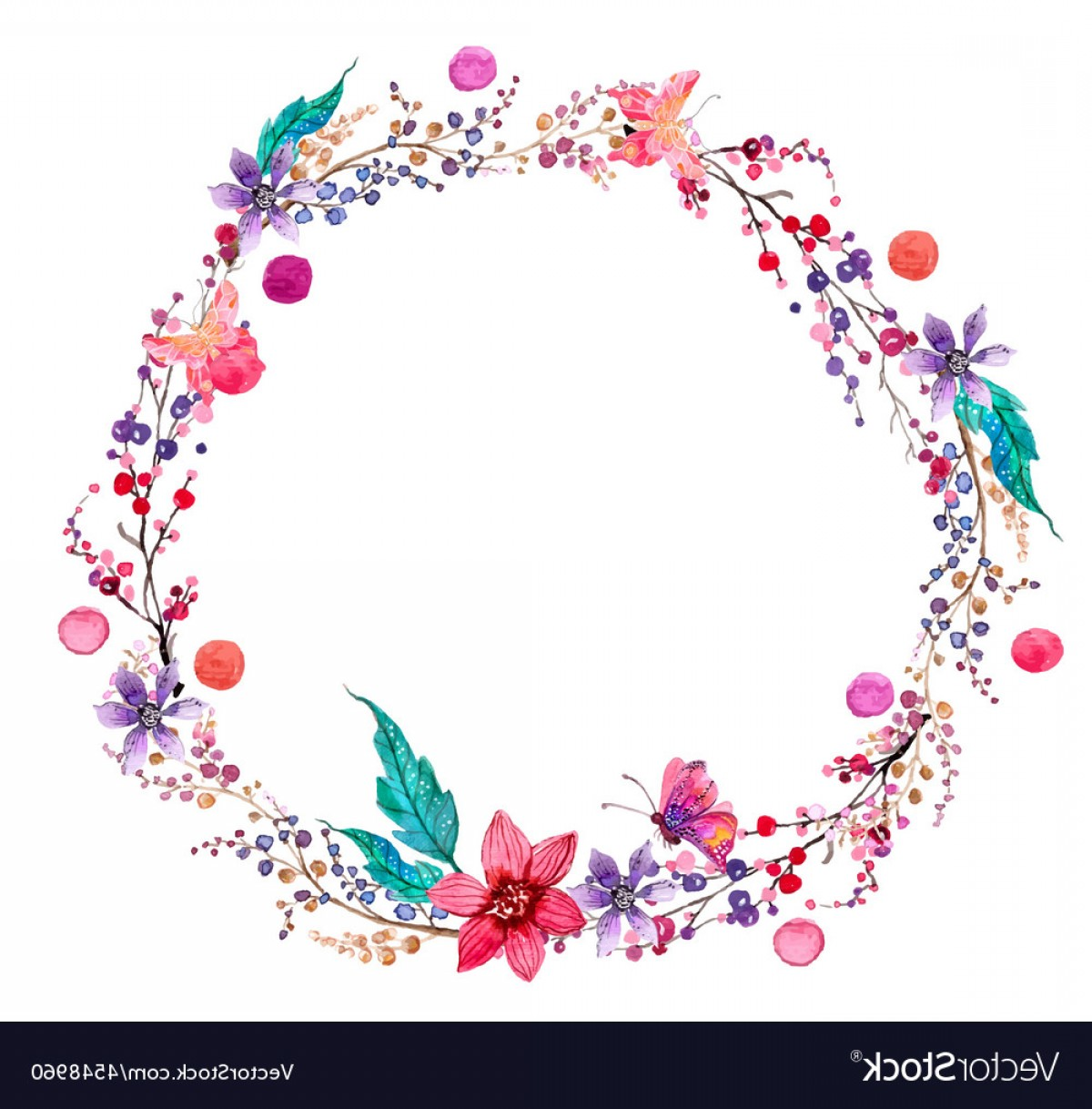 Summer Wreath Free Vector Watercolor: Watercolor Flower Wreath Background Vector