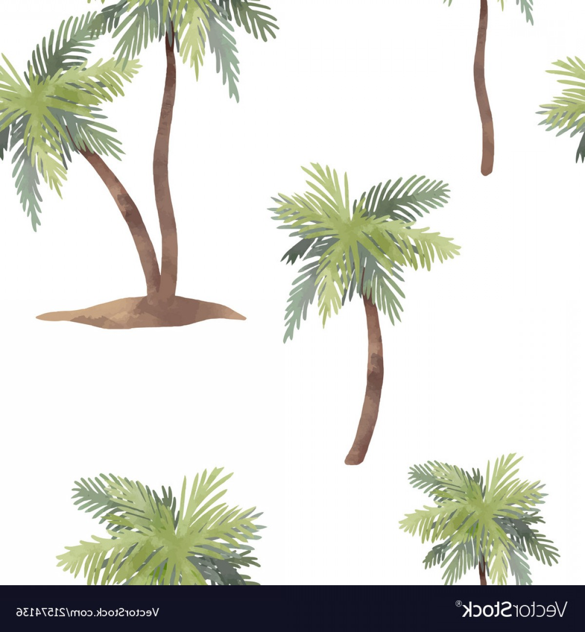 Watercolor Palm Tree Vector: Watercolor Palm Tree Pattern Vector