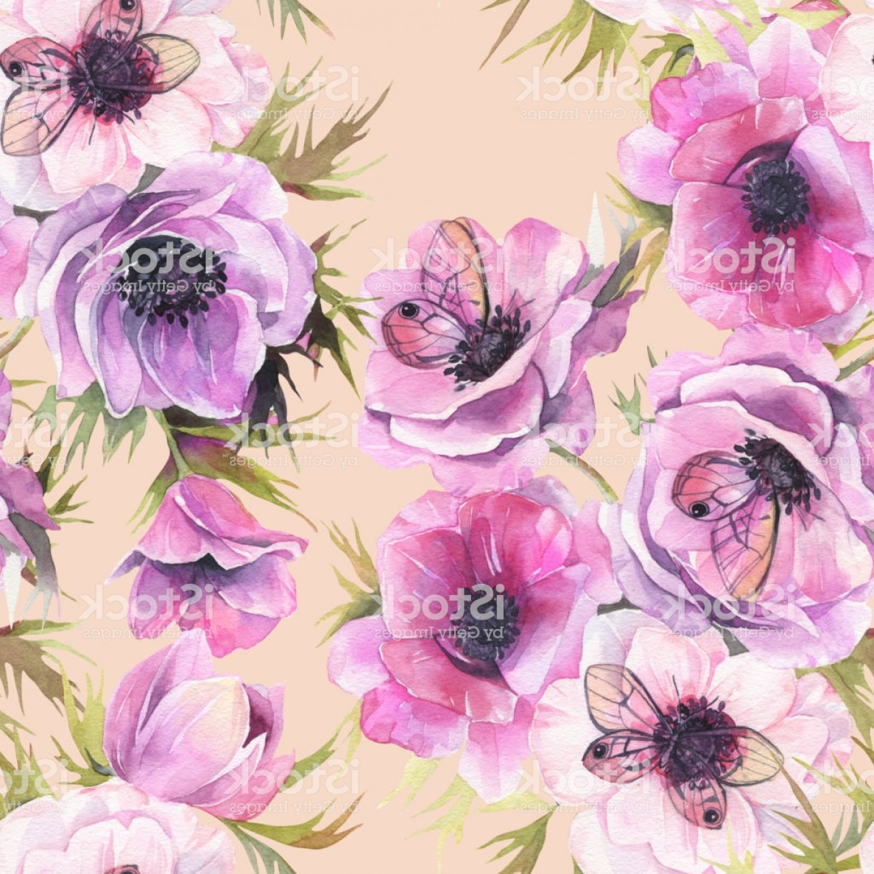 Purple Butterfly Wallpaper Vector: Watercolor Seamless Pattern With Anemones And Butterflies Romantic Botanical Gm