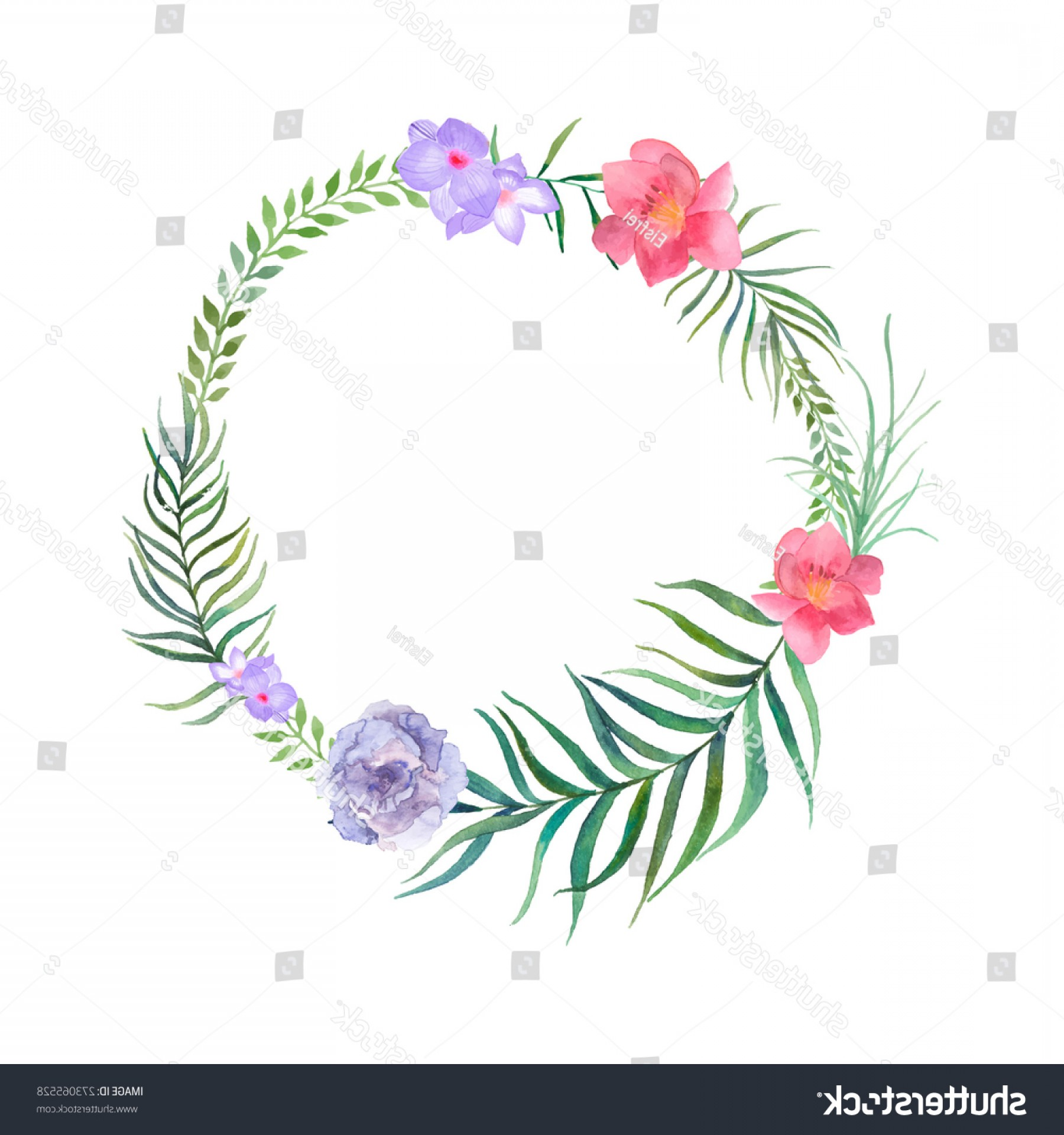 Summer Wreath Free Vector Watercolor: Watercolor Summer Plants Flowers Wreath Hand