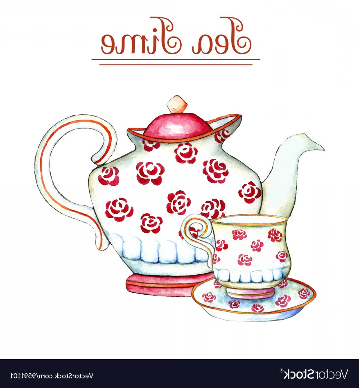 Teapot And Cup Vector: Watercolor Teapot And Cup Vector