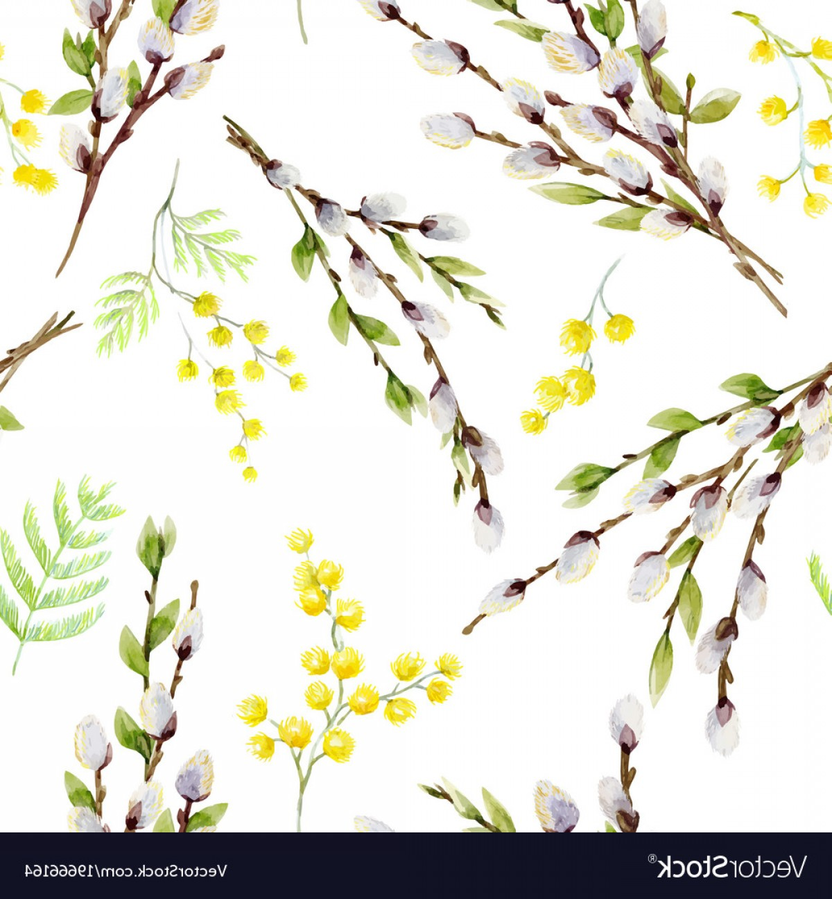 Vector Natural Willow: Watercolor Willow Tree Pattern Vector