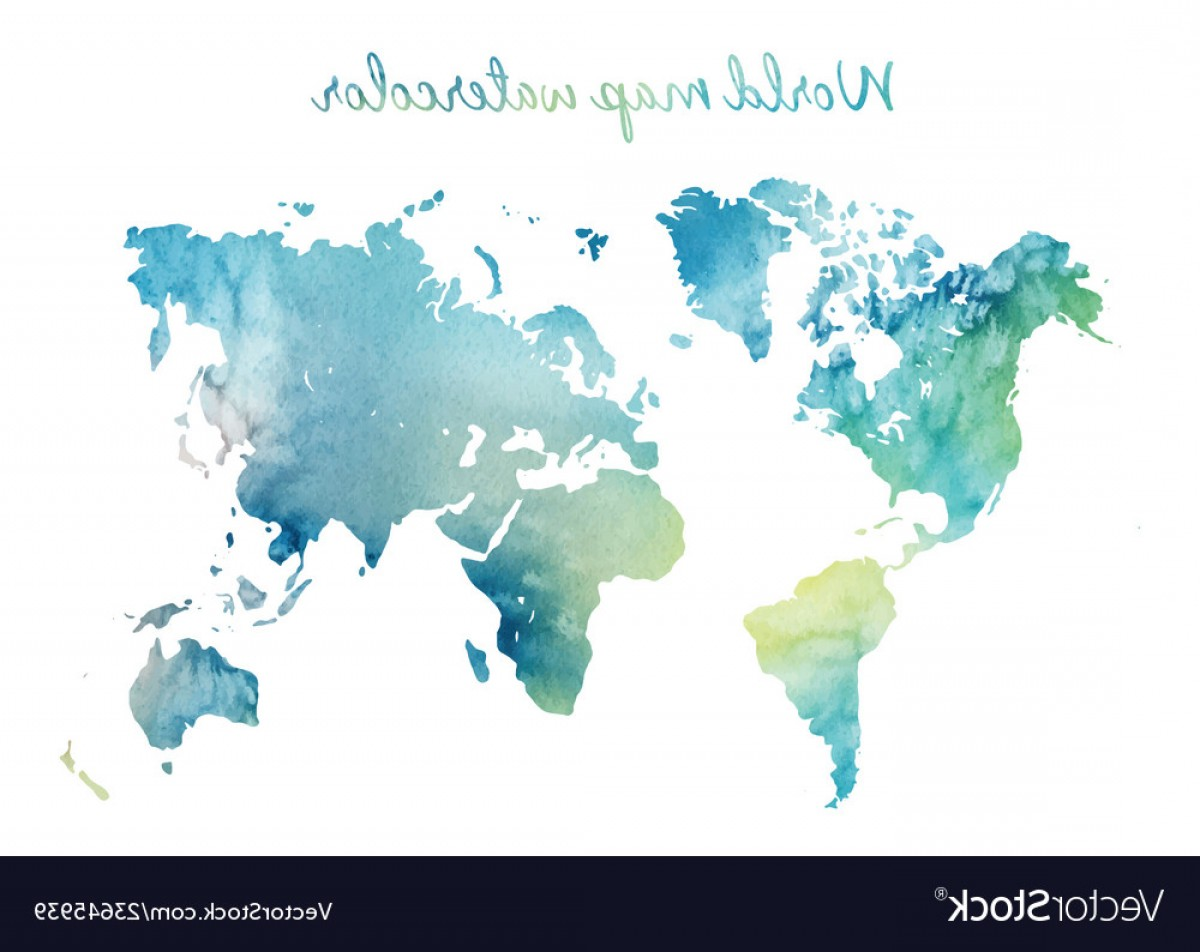 BG Vector Map: Watercolor World Map In On Wight Background Vector