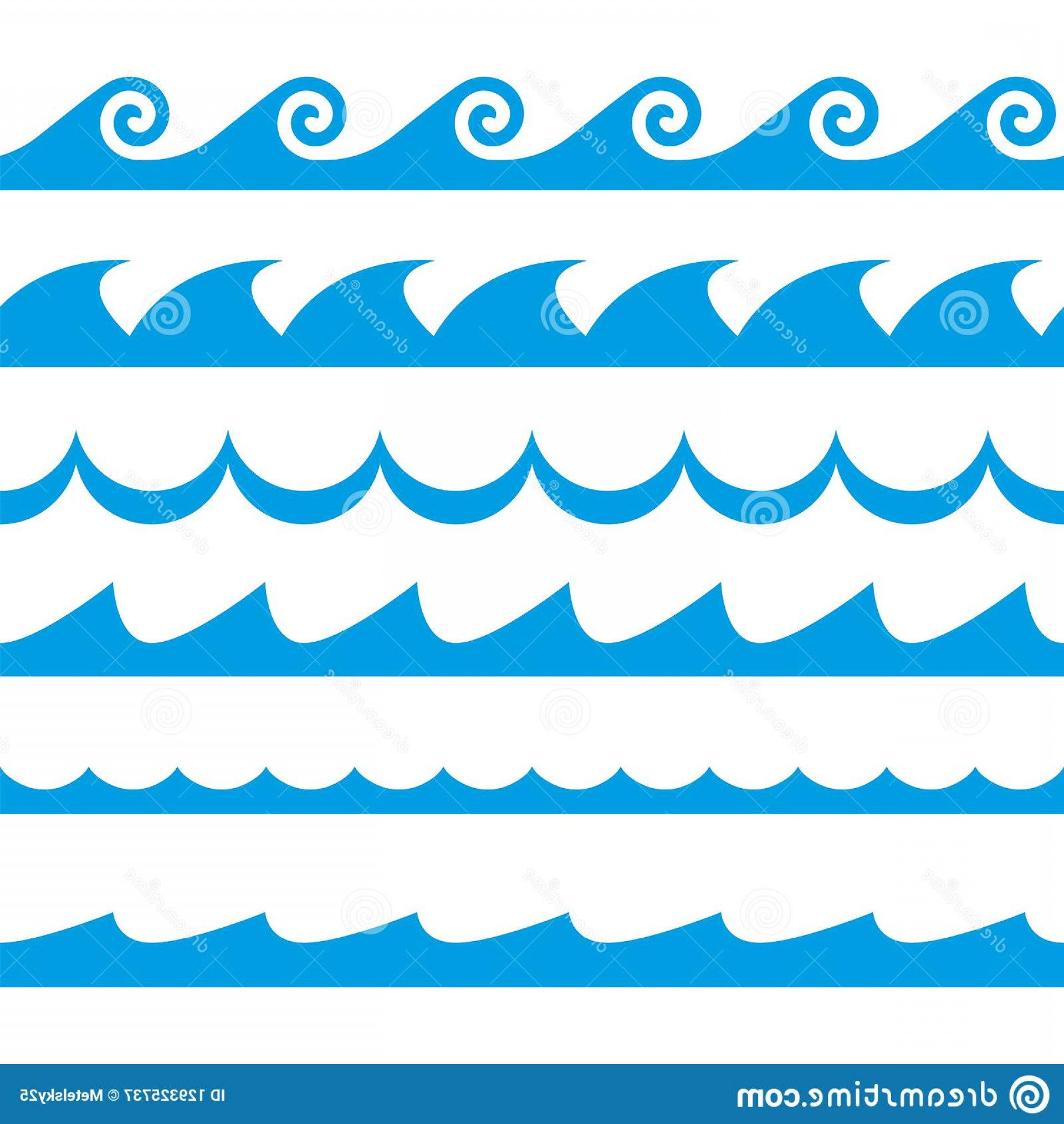 Vave Vector: Wave Set Waves Seamless Pattern Decoration Template Sea Ocean Vector Illustration Image