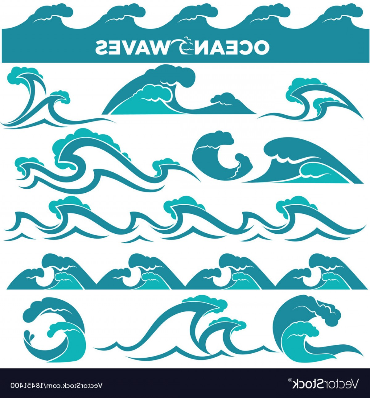 Vave Vector: Waves Icons Of Water Tidal Gale Blue Ocean Wave Vector