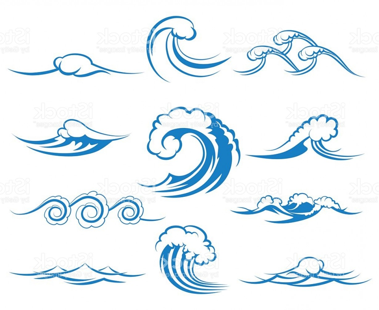 Ocean Wave Vector Illustration: Waves Of Sea Or Ocean Waves Vector Illustration Gm