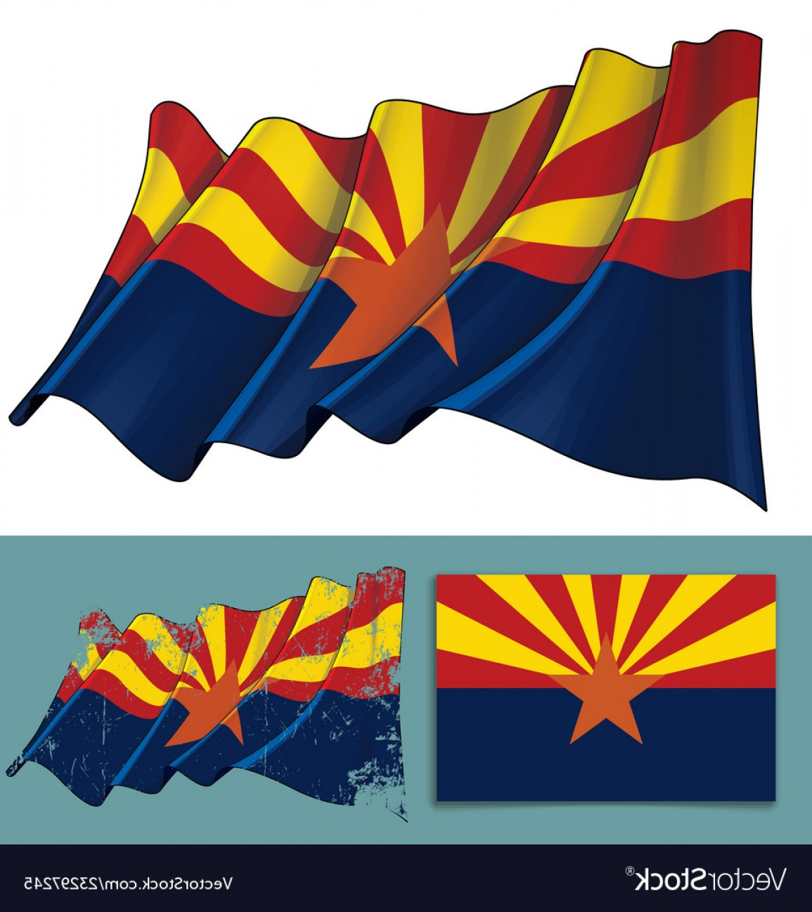 Arizona Flag Vector: Waving Flag Of The State Of Arizona Vector