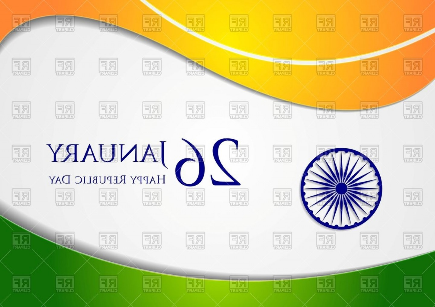 India Flag Vector: Wavy Background Colors Of India Flag Vector Clipart