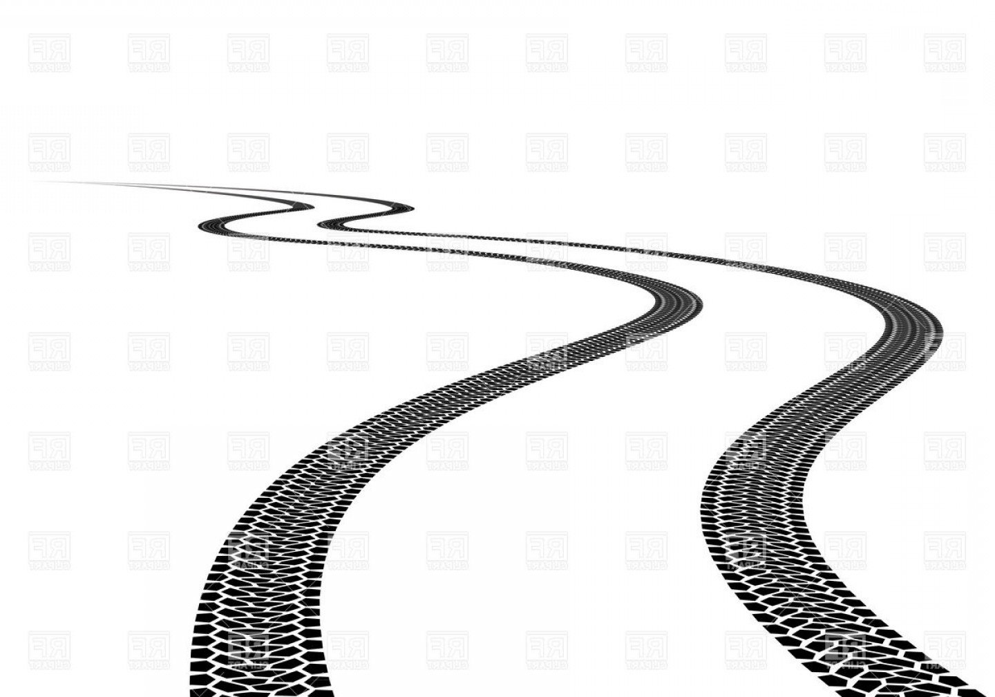 Track Vector: Wavy Road Tire Track Vector Clipart