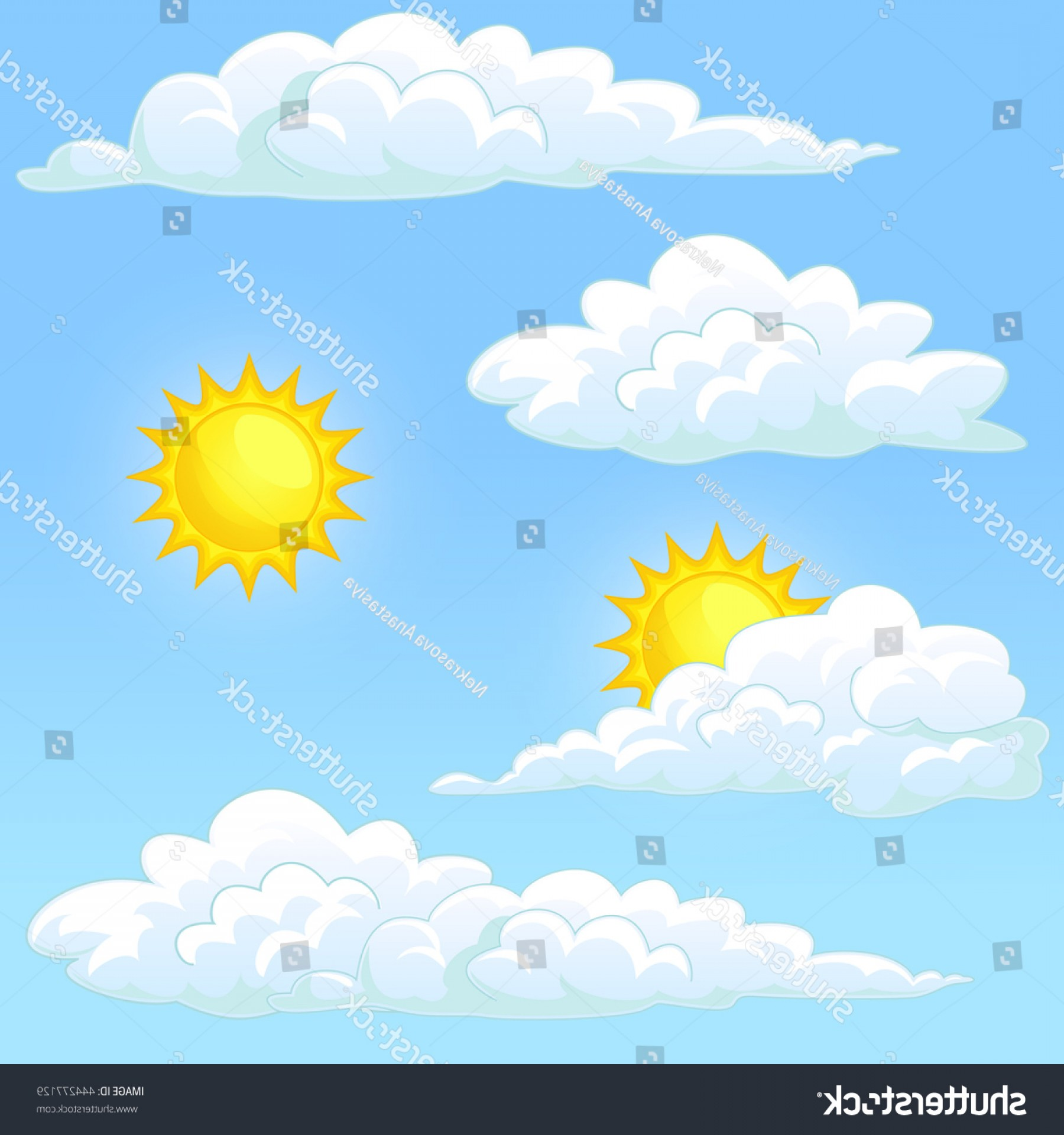 Blue Background Vector Cartoon Sun: Weather Set White Clouds Yellow Sun
